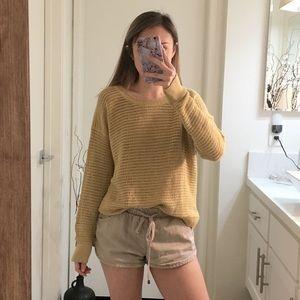 Mustard Yellow Open Knit Sweater Top